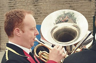 Whit Friday - A participant in a Whit Brass Band contest, Top Mossley, 2008