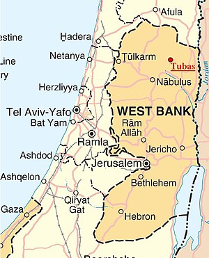 Tubas - The location of Tubas (marked in red) within the West Bank