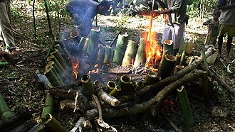 In East Timor, cooking food in bamboo is called tukir. Tukir (a way of cooking using bamboo as recipient to cook in the fire).jpg