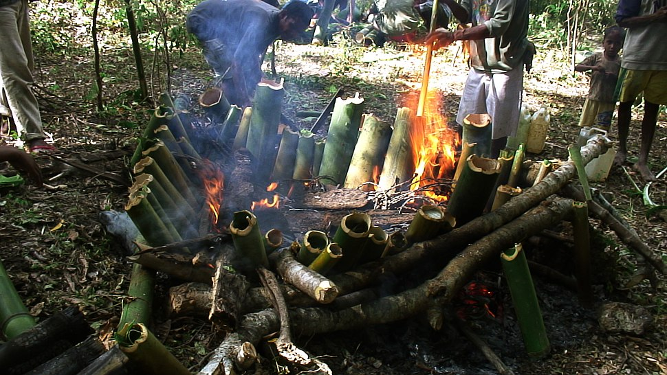 Tukir (a way of cooking using bamboo as recipient to cook in the fire)
