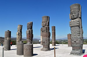 Tula (Mesoamerican site) - Atlantean columns on Pyramid B in form of Toltec warriors.