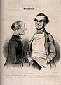 Two friends conversing about a recent operation for strabism Wellcome V0011760.jpg