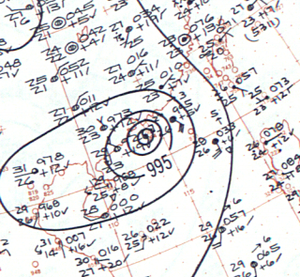 Typhoon Mary (1960) - Surface analysis of Typhoon Mary near peak intensity