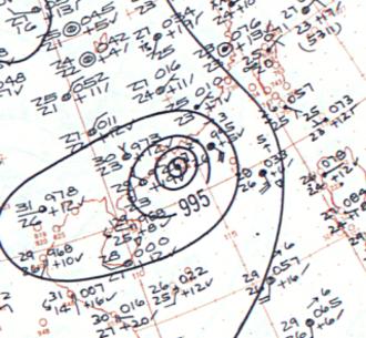 Typhoon Mary (1960) - Surface analysis of Typhoon Mary near peak intensity