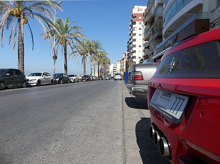 A Ferrari 458 with a number plate from Lagos, Nigeria, on the Southern promenade of Tyre TyreSourLebanon FerrariLagosNigeria 24092019RomanDeckert.jpg