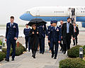 U.S. Air Force Col. James C. Vechery, commander of the 60th Air Mobility Wing, escorts Secretary of State Hillary Rodham Clinton to the Travis Air Force Base Distinguished Visitor Lounge 100111-F-WV915-019.jpg