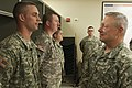 U.S. Army Gen. Frank J. Grass, right, the chief of the National Guard Bureau, speaks with Pfc. Colby Haigler while visiting Oklahoma Army and Air National Guardsmen May 28, 2013, at the Armed Forces Reserve 130528-Z-RH707-100.jpg