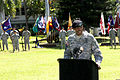 U.S. Army Gen. Vincent K. Brooks, at the podium, the commanding general of the U.S. Army Pacific (USARPAC), addresses Soldiers in formation during a celebration of service retirement ceremony in honor of Maj 140902-A-RV513-014.jpg