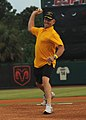 U.S. Navy Cmdr. Gary Martin throws the ceremonial first pitch, 2009.jpg