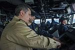 U.S. Navy Lt. j.g. Joseph Testa, second from left, works alongside Romanian Naval Forces Warrant Officer Daniel Pap aboard the guided missile destroyer USS Truxtun (DDG 103) in the Bosphorus strait March 7 140307-N-EI510-011.jpg