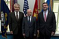 U.S. Secretary of Defense Chuck Hagel, left, and Deputy Secretary of Defense Ash Carter, right, pose for a photo with Tunisian Minister of Defense Rachid Sabbagh at the Pentagon in Arlington, Va., May 28, 2013 130528-D-BW835-079.jpg