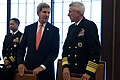 U.S. Secretary of State John Kerry, center, speaks with U.S. Navy Adm. Samuel Locklear, right, the commander of U.S. Pacific Command, during a break in meetings in Tokyo Oct. 3, 2013 131003-D-BW835-705.jpg