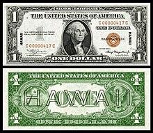 Certificado de prata de $ 1 1935 com impressão sobreposta do Havaí