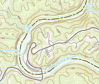 Cumberland Falls - Detail of a USGS topographical map showing Cumberland Falls, the wide plunge pool immediately downstream (northward), as well as Eagle Falls on the west bank, and the rapids of Center Rock further downstream