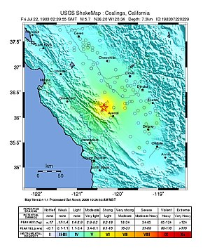 1983 Coalinga earthquake - USGS ShakeMaps for the mainshock (left) and the July 22 aftershock