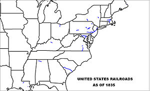 Oldest railroads in North America - U.S. railroads in 1835.