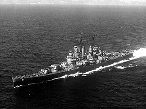 USS Columbia (CL-56) - USS Columbia (CL-56) off San Pedro, 1945