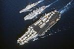 USS Niagara Falls (AFS-3) replenishes USS Constellation (CV-64) and USS Leahy (CG-16) c1978.jpeg