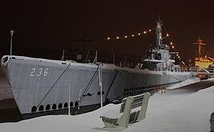 USS Silversides (SS-236) - Silversides, as seen in a Michigan winter in Muskegon, 26 January 2008