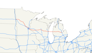 SS Badger - SS Badger connects the eastern and western segments of US 10, shown here in red.