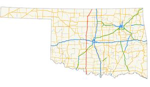U.S. Route 81 in Oklahoma - Image: US 81 (Oklahoma) map