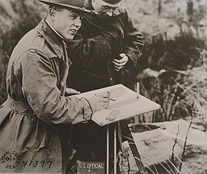Army Map Service - U.S. Army Corps of Engineers topographic engineer making a map during World War I.