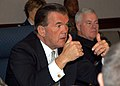 US Navy 041117-N-2227W-005 Secretary of Homeland Security Tom Ridge discusses better ways of conducting business with the men and women assigned to North American Aerospace Defense Command (NORAD) and United States Northern Com.jpg