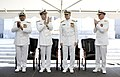 US Navy 070827-N-0696M-096 Vice Adm. Adam Robinson, Chief of Naval Operations Adm. Mike Mullen, and Rear Adm. Richard Jefferies, commander of National Naval Medical Center applaud Vice Adm. Donald C. Arthur.jpg