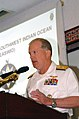 US Navy 070906-F-1779B-010 Rear Adm. James Hart, commander of Combined Joint Task Force-Horn of Africa (CJTF-HOA), gives an overview of the briefings and lessons that have taken place at the East Africa South West Indian Ocean.jpg