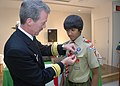US Navy 100218-N-3283P-065 Rear Adm. Richard Wren, commander of U.S. Naval Forces Japan, pins an Eagle Scout badge on Nigal Shah, a member of the Far East Council, Boy Scouts of America Japan District, Troop 35.jpg