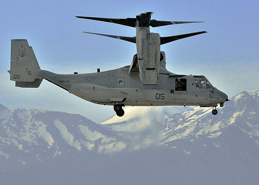 US Navy 100224-N-0780F-002 A V-22 Osprey, assigned to Marine Medium Tiltrotor Squadron (VMM) 162, 24th Marine Expeditionary Unit (24th MEU) makes its final approach for landing