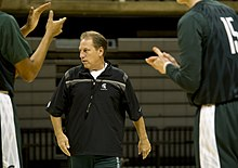 US Navy 111025-N-QF368-217 Tom Izzo, head coach of the Michigan State University Spartans prepares his team for the Carrier Classic.jpg