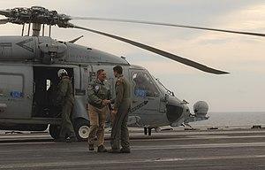 US Navy 120121-N-NC372-468 Secretary of Defense Leon E. Panetta arrives aboard the aircraft carrier USS Enterprise (CVN 65).jpg