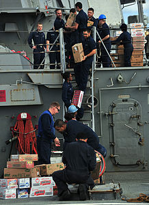 US Navy 120201-N-OP638-130 Sailors assigned to the Arleigh Burke-class guided-missile destroyer USS Porter (DDG 78) form a working party in order t.jpg
