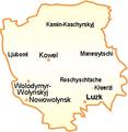 Ukraine Oblast Wolhynien Städte.png