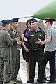 Ukrainian air force (UAF) Lt. Gen. Vasyl Nikiforov, second from right, the deputy commander of the UAF, welcomes U.S. Air Force pilots to Mirgorod Air Base, Ukraine, July 17, 2011, in preparation for Safe Skies 110717-F-VN486-005.jpg