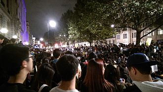 Umbrella Movement - 4,000–5,000 people gathered outside Chinese Embassy London to support the protests in Hong Kong on 1 October 2014