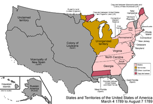 Territorial evolution of Montana - An enlargeable map of the United States after the Treaty of Paris in 1789