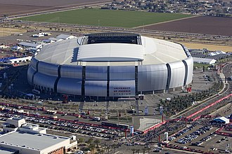 University of Phoenix - University of Phoenix Stadium, a sports stadium in Glendale, Arizona for which the corporation paid for naming rights from 2006 to 2018.