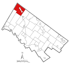 Location of Upper Hanover Township in Montgomery County
