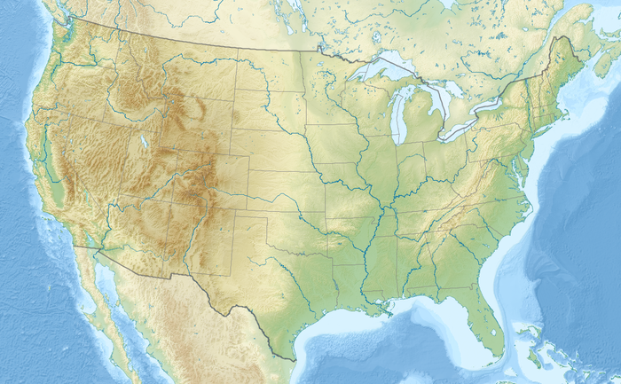 Map of the United States with the ten tallest dams indicated.