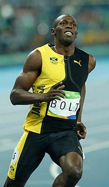 Usain Bolt durante la finale dei 100 m ai Giochi olimpici di Rio de Janeiro 2016.