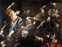 Valentin de Boulogne, Christ Driving the Money Changers out of the Temple.jpg