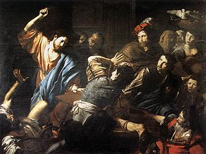 Cleansing of the Temple - Christ Driving the Money Changers out of the Temple Valentin de Boulogne