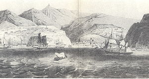 Pacific Station - An 1830 illustration of Valparaíso Bay shows a mix of commercial and military vessels