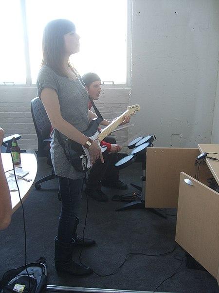 File:Veronica Belmont and Tim Moynihan playing Rock Band.jpg
