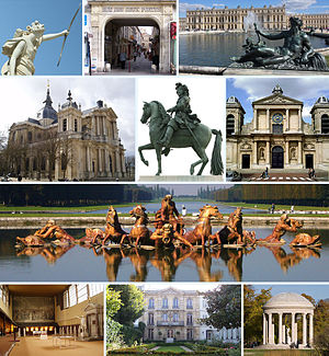 "Frae tap left tae bottom richt: Le Soir (""The Evening"" in the gairdens o Versailles); rue des Deux-Portes; the Château de Versailles taken frae the gairdens; Versailles Cathedral; equestrian statue o Louis XIV, place d'Armes, in front o the Château; Kirk o Notre-Dame, Versailles, parish kirk o the Château; the bassin d'Apollon in the gairdens o Versailles; la salle du Jeu de paume (whaur the Tennis Coort Oath was signed); the Musée Lambinet (municipal museum o Versailles); the Temple de l'Amour (""Temple o Love"", gairden o the Petit Trianon)"