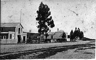 National Bank of New Zealand - Victoria St, Hamilton, between Hood and Collingwood Streets about 1880. The National Bank of New Zealand is the building beyond the tree.
