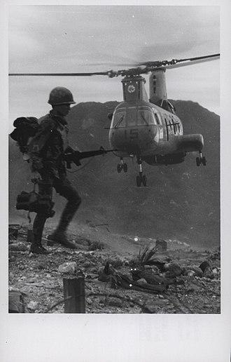 Vietnamese Rangers - Vietnamese Ranger and an HMM-263 CH-46D near An Hoa, 1969