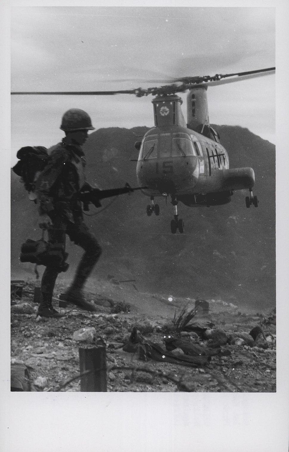 Vietnamese Ranger and an HMM-263 CH-46D near An Hoa
